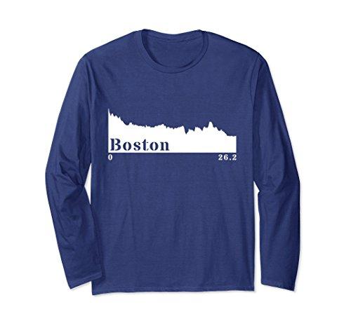Unisex Boston Elevation Profile Running Marathon Long Sleeve Shirt Large - Running Elevation