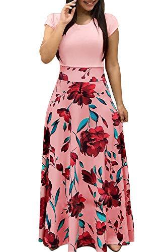 Demetory Women`s Summer Short Sleeve Empire Waist Polka Dot Flowy Long Maxi Dress Pink Small