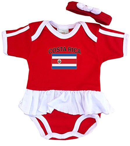 PAM Baby Girls Costa Rica Soccer Bodysuit With White - Baby Costas