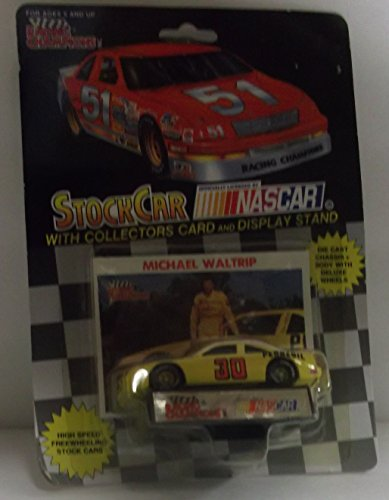Michael Waltrip Racing Driver - Racing Champions NASCAR #30 Michael Waltrip Pennzoil Racing Team Stock Car with Driver's Collectors Card and Display Stand Black Background 51 Car