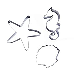 Yunko Starfish Shell Hippocampus Shape Stainless Steel Cookie Cutter Fondant Cutter 3pcs / Set