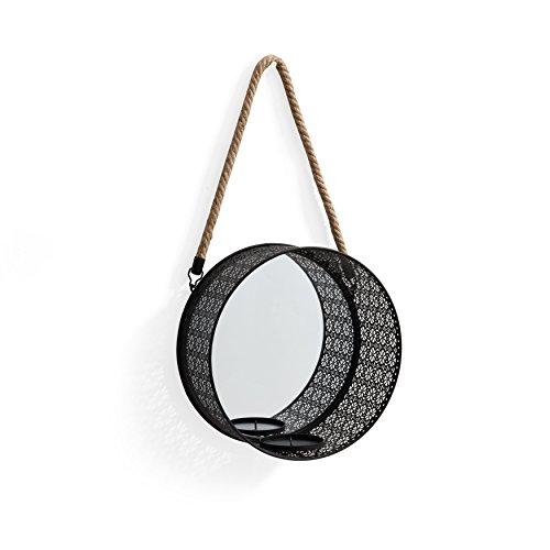Round Mirror Pillar Sconce Filigree Metal Frame and
