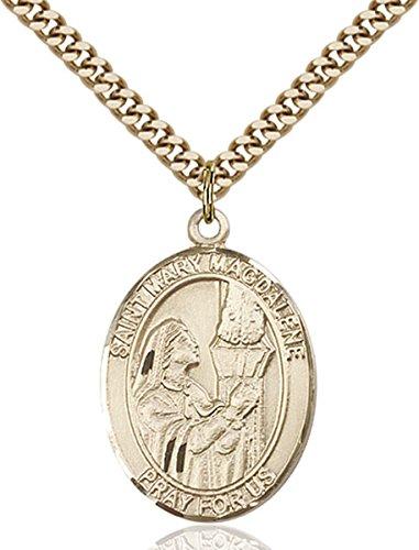 14K Gold Filled Catholic Saint Mary Magdalene Medal, 1 Inch ()