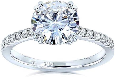 Kobelli Forever One Moissanite and Lab Grown Diamond Engagement Ring 2 1/10 CTW 14k White Gold (DEF/VS)