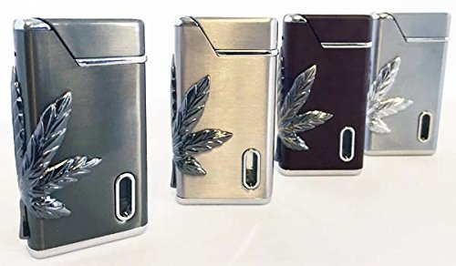 Elegant Cannabis Theme Refillable Butane Torch Lighter - 2 1/2 Inch
