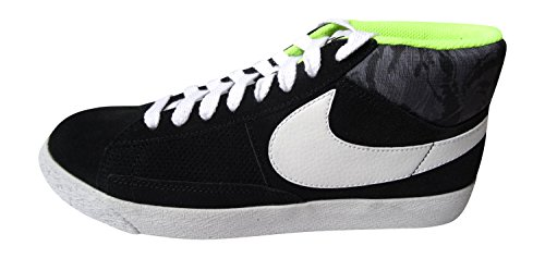 nike blazer mid 2.0 mens hi top trainers 607273 sneakers shoes (uk 6 us 7 eu 40, black white volt 017)