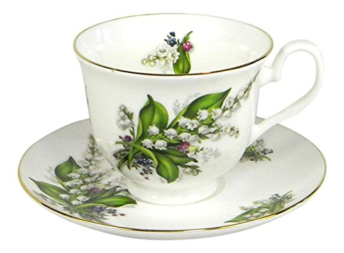 Crown Trent Lily of the Valley Gold Rimmed Teacup and Saucer Set Fine Bone ()