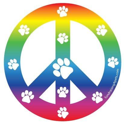 - Peace Sign Circle Magnet - Rainbow