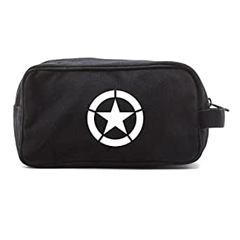 World War 2 Military Jeep Star Canvas Shower Kit Travel Toiletry Bag Case in Black & White