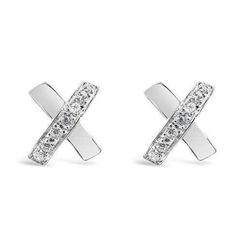 - 925 Solid Sterling Silver Tiny Cubic Zirconia Alphabet Initial X Stud Earrings - Mini CZ