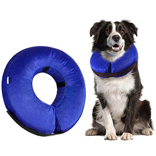 Royalsell Dog Cone Collar, Protective Inflatable Collar for Dogs and Cats - Pet Recovery Collar Does Not Block Vision E-Collar - Inflatable Procollar