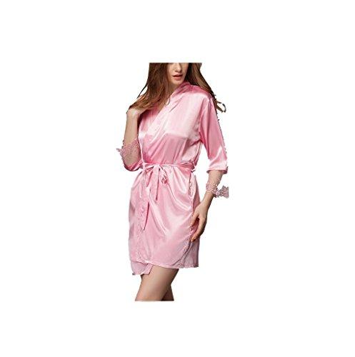 Oudan a in Robe pigiama Rosa manica corta con Abito lunghe sexy cintura maniche Chic ww1SFq