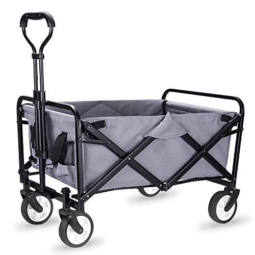 """WHITSUNDAY Collapsible Folding Garden Outdoor Park Utility Wagon Picnic Camping Cart with Replaceable Cover (Compact Size 5"""" Wheels, Grey)"""