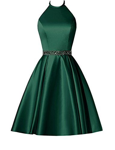 Crystal Dress with Short Pockets Dress BBCbridal Halter Gowns Cocktail Dark Homecoming Prom Satin Green Waist tz5xPp