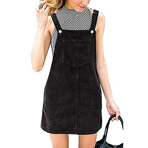 Willow S Women Fashion Daily Corduroy Straight Suspender Mini Bib Overall Pinafore Casual Pocket Dress Blouse Black