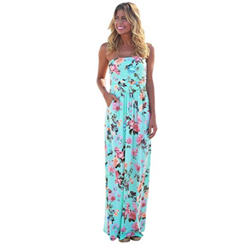 Hot Sale ! Beautiful Womens Print Holiday Bandeau Long Dress, Ninasill Exclusive Ladies Summer Floral Maxi Dress (XL, Blue) (Chiffon Bandeau)