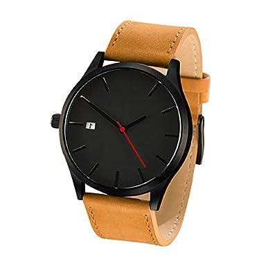 COCOTINA Men's Fashion Leather Band Wrist Watch Quartz Watch (Brown)