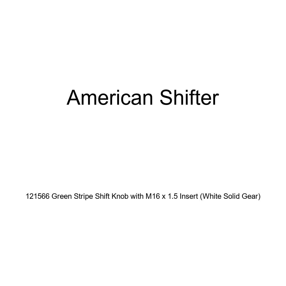 American Shifter 121566 Green Stripe Shift Knob with M16 x 1.5 Insert White Solid Gear