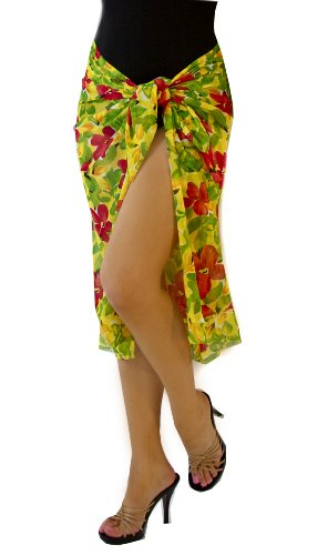 Assorted Long Print Pareo Cover-up - Wrap in unlimited ways (Jamaican Floral)