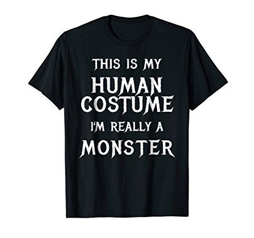 Mens Monster Halloween Costume Shirt Easy Simple Funny 2XL Black ()