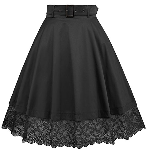 1950s Vintage Flared A-Line Lace Skirt Removable Belt Women Black Size S (Lace Belt Belted)