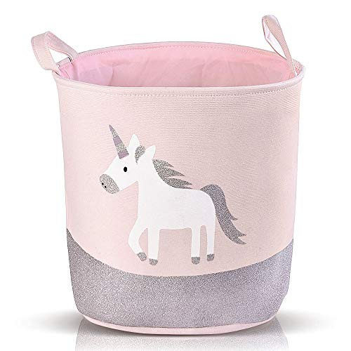 NIBESSER Laundry Hamper for Nursery Room or Kids Bedroom,Foldable Collapsible Cotton Cartoon Basket Organizer,Children and Pet Storage Bin Container for Toys, Baby Products and Clothing