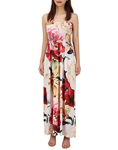 HDE Women's Strapless Maxi Dress Plus Size Tube Top Long Skirt Sundress (Cream Floral, Large)