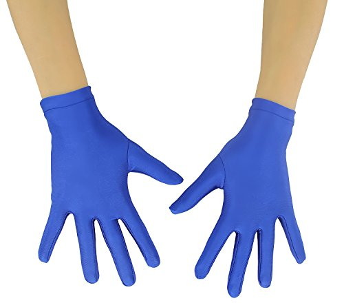 Ensnovo Adult Wrist Length Lycra Spandex Full Finger Stretchy Short Gloves Royalblue M