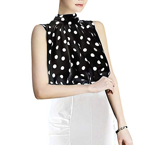 (Silk Bow Collar Sleeveless Shirt Blouse for Womens (S, TC09-Black))
