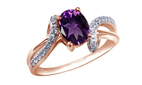 Oval Cut Simulated Amethyst Fashion Ring in 14k Rose Gold Over Sterling Silver (1.5 Cttw)