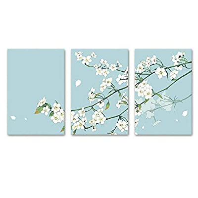Made For You, Dazzling Composition, 3 Panel Small White Flowers on Light Blue Green Background x 3 Panels