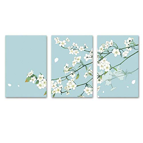 wall26 - 3 Panel Canvas Wall Art - Small White Flowers on Light Blue Green Background - Giclee Print Gallery Wrap Modern Home Decor Ready to Hang - 16