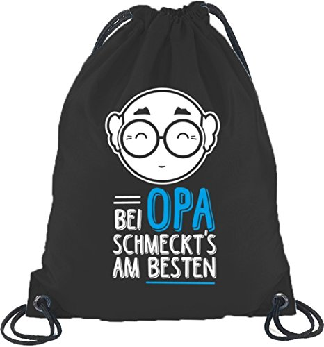 Bei Opa schmeckts am besten, Vatertag Turnbeutel Rucksack Sport Beutel Schwarz