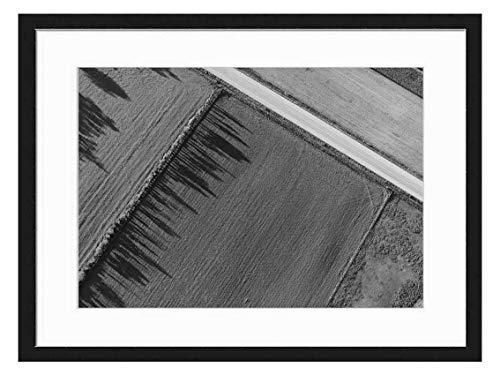 Amymami Art Print Wall Picture (Black White 20x14 inch) - Agriculture Cropland Farm Farmland Field (Best Way To Sell Farmland)
