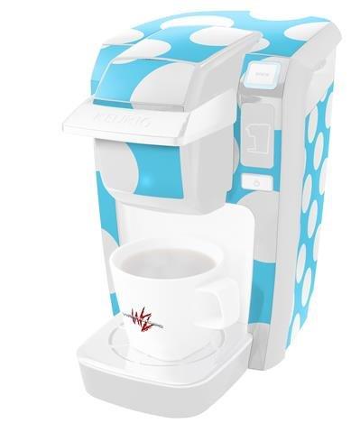 kearasポルカドットホワイトandブルー – デカールスタイルビニールスキンKeurig k10 / k15 Mini Plusコーヒーメーカー( Keurigに含まれません   B0181D9W8I