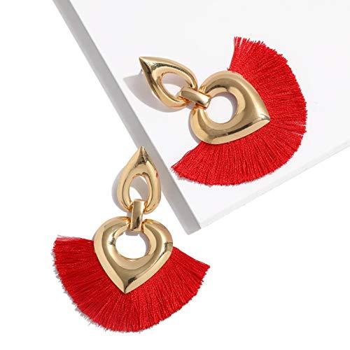 MOOCHI Heart Shape Bohemia Tassel Thread Hoop Dangle Earrings - Fancy Shape Heart Earring