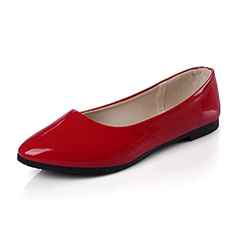 SAGUARO Womens Classic Pointy Toe PU Leather Ballet Flats Shoes 8 colors,Red