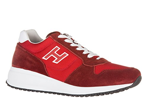 Hogan chaussures baskets sneakers homme en daim interactive n20 h flock rouge