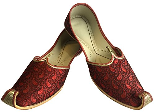 Style Jutti n Khussa Shoes Pakistani Mojari Wedding Punjabi Step Men's Ethnic Shoes Mehroon Indian 05dqypw