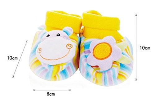 HappyCherry® Für 0-1 Jahre alt Baby Süß Tiere Plüsch Lauflernschuhe mit Rassel Nilpferd&Blume