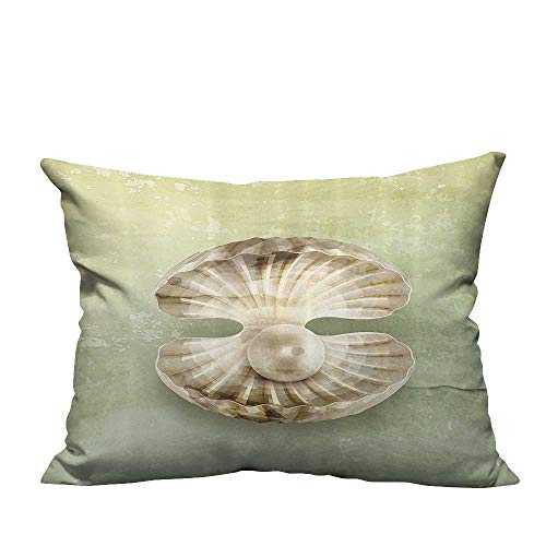 alsohome Decorative Throw Pillow Case Pearl Within Open Shellfish Marine Life Magical Creature Vintage Texture Cotton Linen Durable 19.5x60 inch(Double-Sided Printing)