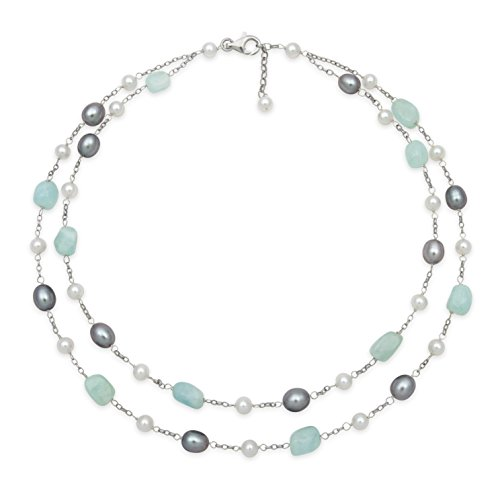 Cultured Pearl Tin Cup Necklace (Sterling Silver Natural Milky Aquamarine Gemstone and Cultured Freshwater Pearl Station Tin Cup Chain Necklace,18