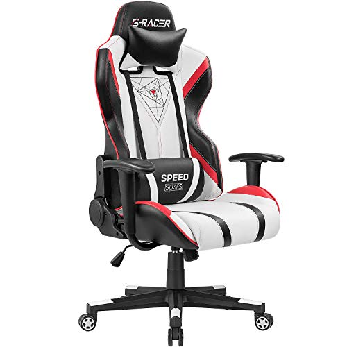 Homall Gaming Racing Office High Back PU Leather Computer Desk Executive and Ergonomic Swivel Chair with Headrest (White)
