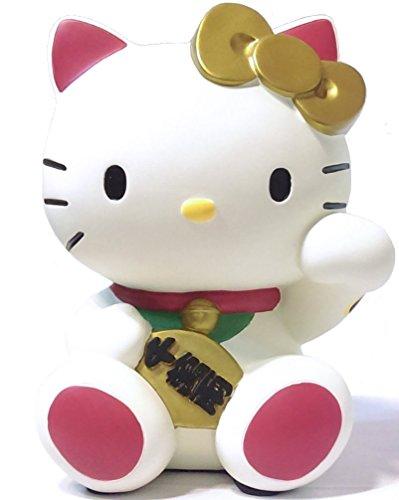 """KT 8"""" Hello Kitty Luck Fortune Maneki Neko Beckoning Cat Coin Piggy Bank Saving Money Poly Resin"""