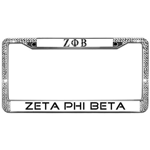 (GND Zeta Phi Beta License Plate Frame Bling Pink,Zeta Phi Beta License Plate Frame for Women Bling Stainless Steel Chrome License Plate Frame for US Canada Cars)