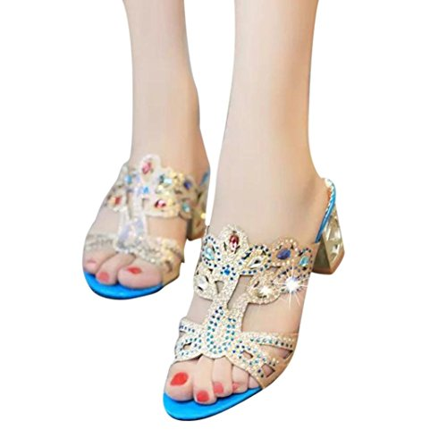 VEMOW High Heels for Women, for Work Utility Footwear Gladiator Closed Toe Platform Sparkly Roman Sandals Party Club Office Court Shoes, Fashion Girl Big Rhinestone Ladies Beach Blue