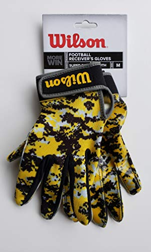 Wilson Football Receiver Gloves Youth M Super Grip Yellow & Black Camo