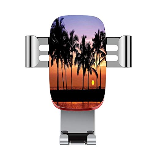 (Metal automatic car phone holder,Hawaiian Decorations,Hawaiian Sunset on Big Island Anaehoomalu Bay Tropic Horizo,adjustable 360 degree rotation, car phone holder compatible with 4-6.2 inch smartphone)