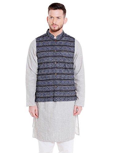 Shatranj Men's Banded Collar Button Down Cotton Vest with Artistic Indian Prints; Black; XL by Shatranj