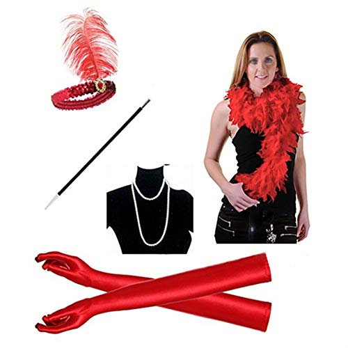 (Vintage 1920s Cocktail Party Dress Dance Costume Womens 20s Flapper Cabaret Halloween Costume(red)